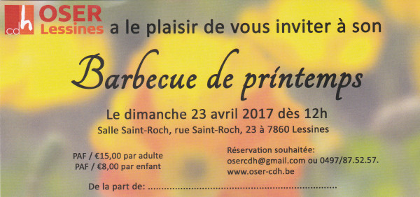 oser cdH barbecue de printemps 2017